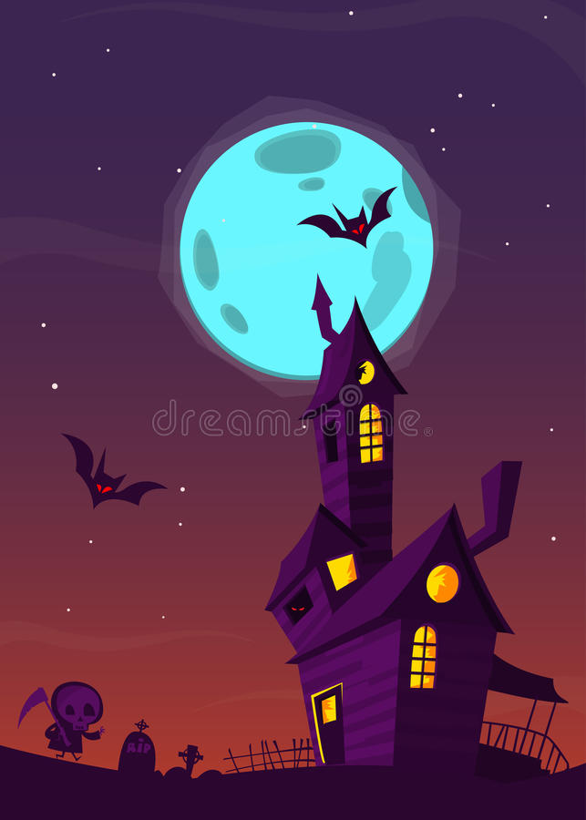Spooky old haunted house with ghosts. Halloween cartoon background. Vector illustration. vector illustration