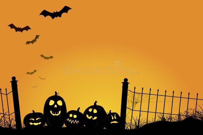 Spooky orange halloween sunset vector illustration