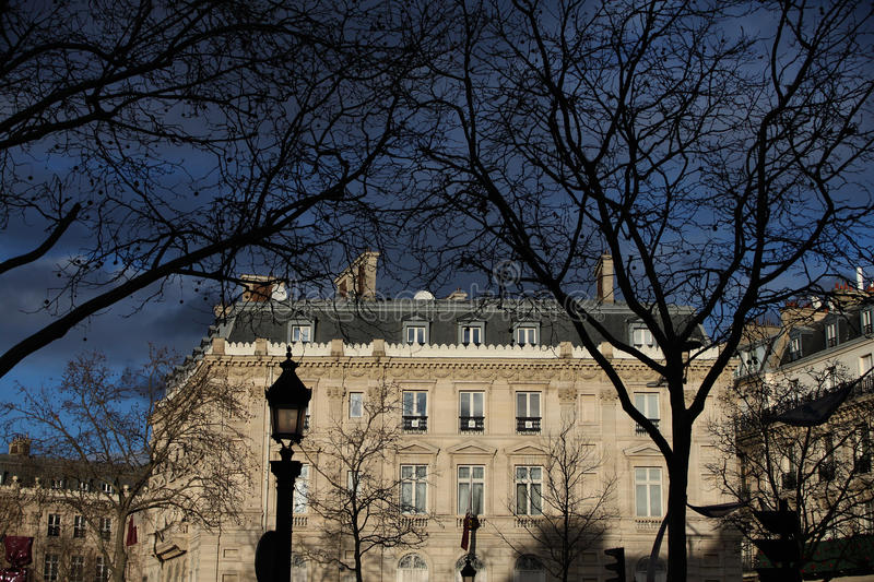 Spooky. A spooky photo of the Qatari embassy in France, Champs Elysees royalty free stock photos