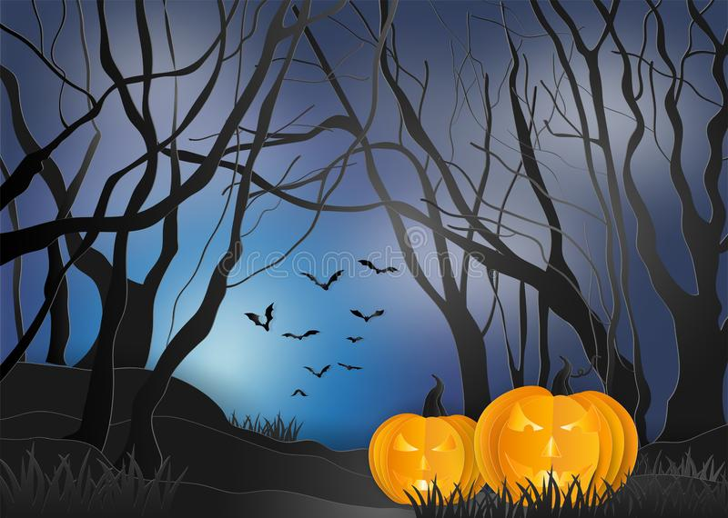 Spooky pumpkin in a scary dark mystery forest. illustration of h. Appy halloween background. paper art and digital craft style stock illustration