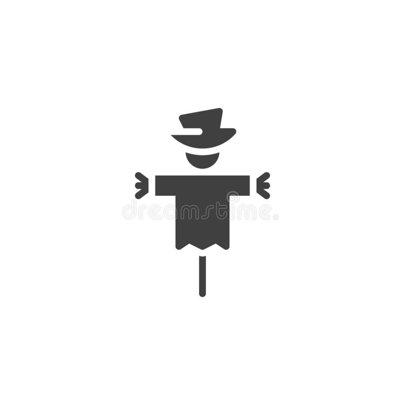 Spooky scarecrow vector icon. Filled flat sign for mobile concept and web design. Halloween, scarecrow glyph icon. Symbol, logo illustration. Vector graphics stock illustration