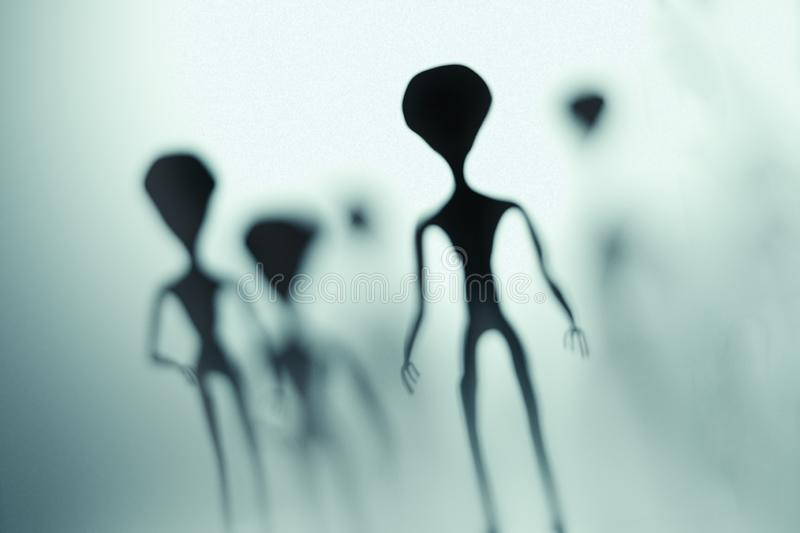 Spooky silhouettes of aliens and bright light in background. 3D rendered illustration.  stock illustration