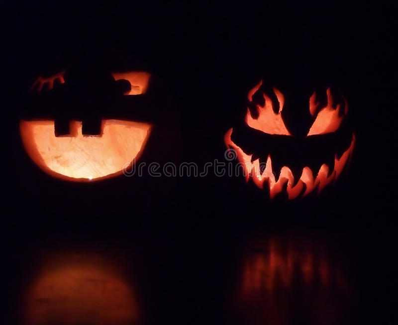 Spooky And Smiling Halloween Pumpkins Royalty Free Stock Photos