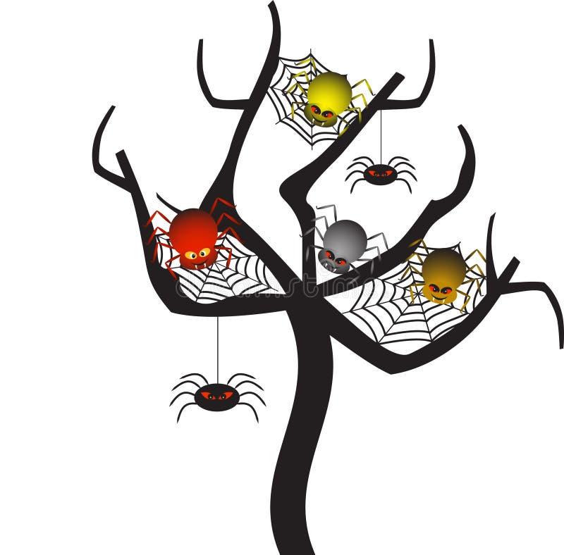 Spooky Spider Webs Tree, Tree Vector. Spooky spider web tree, spiders, spider illustration, tree illustration, red spider, green spider, grey spider, black stock illustration