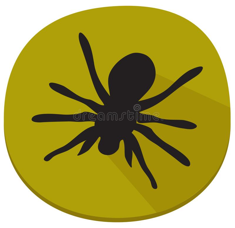 Spooky sticker with spider over white vector illustration