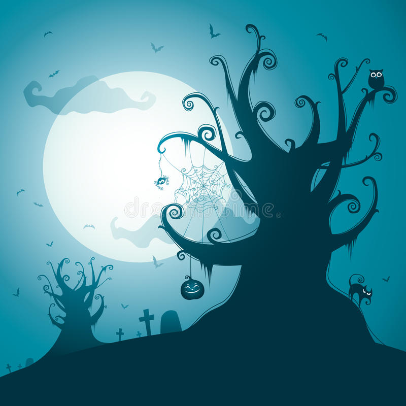 Download Spooky tree stock vector. Illustration of moon, spider - 26559227