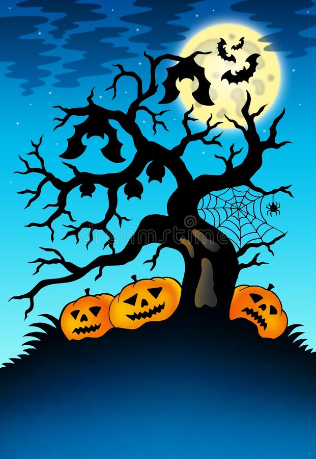 Free Spooky Tree With Bats And Pumpkins Royalty Free Stock Photo - 15574735