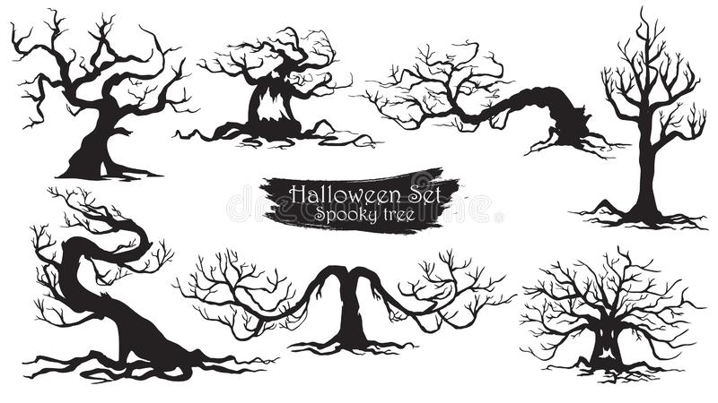 Spooky trees silhouette collection of Halloween vector isolated. On white background. scary, haunted and creepy curly plant element stock illustration