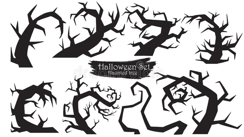Spooky trees silhouette collection of Halloween vector isolated. On white background. scary and creepy curly element vector illustration