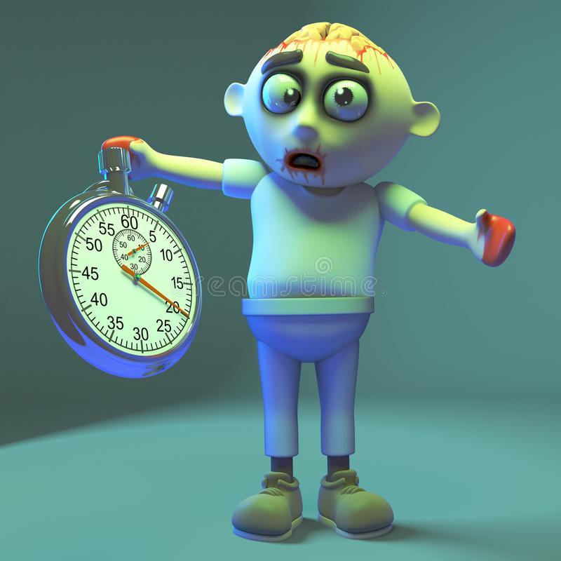 Spooky undead zombie monster keeps an eye on things with his stopwatch, 3d illustration. Render vector illustration