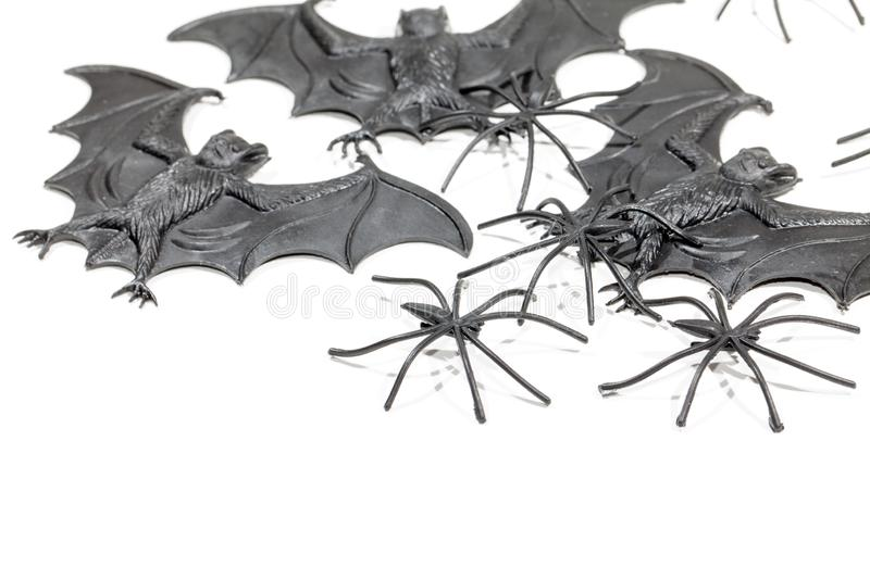 Spooky vampire bat and spider plastic toys. Novelty trick or treat decorations for halloween. royalty free stock image