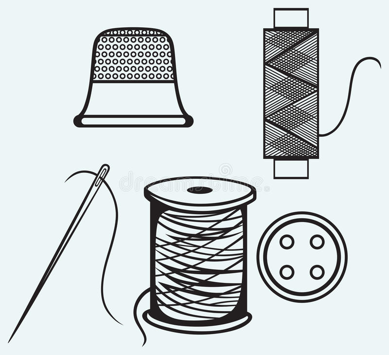 Spool with threads, sewing button and thimble stock illustration