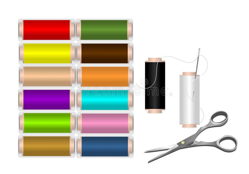 Spools of colorful thread, cdr vector stock photography