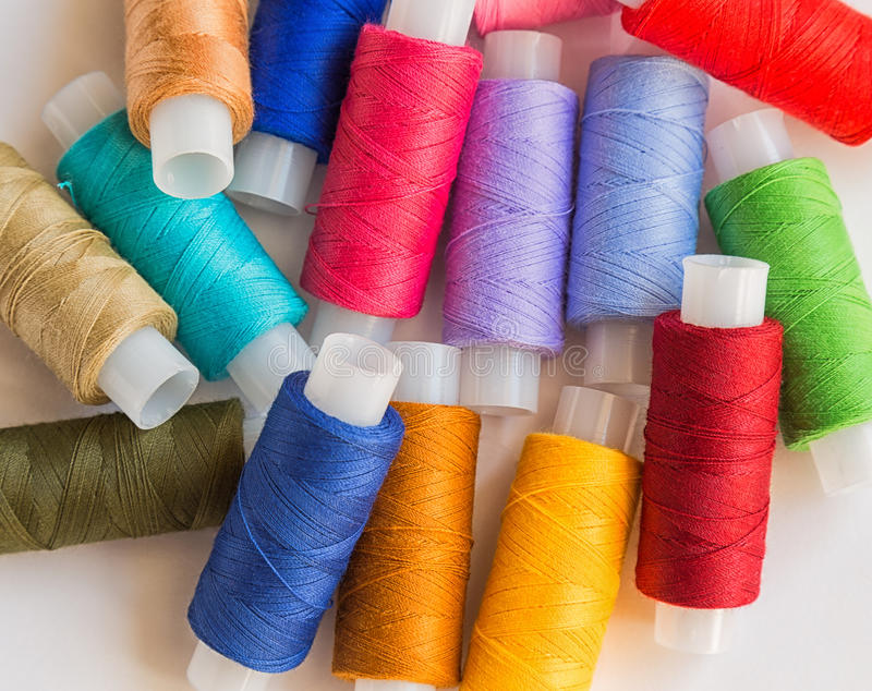 Spools of colorful thread royalty free stock photo