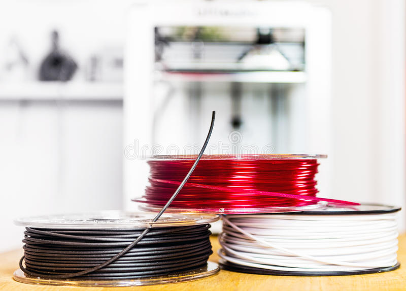 Spools of 3D Printing Polymers royalty free stock images