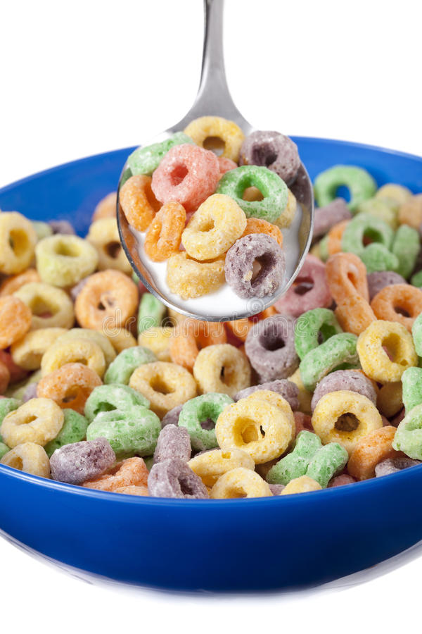 Colorful Spoons: Spoon With Colorful Cereal Stock Photo. Image Of