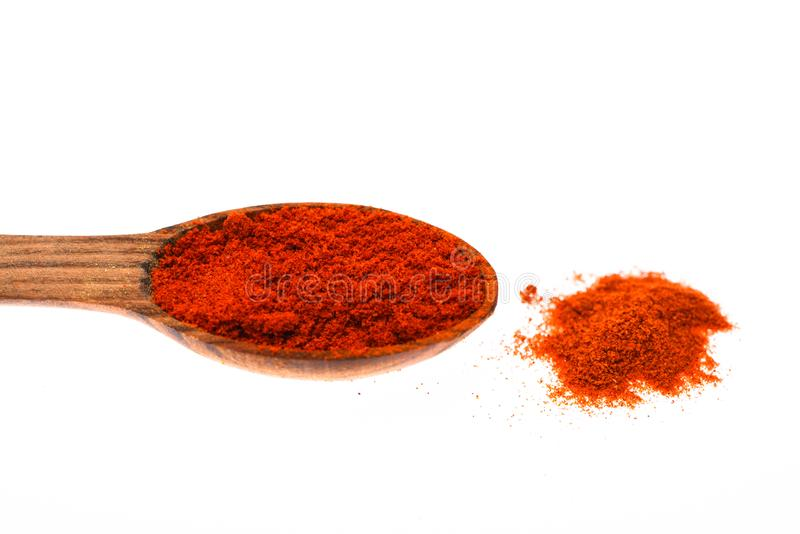 Spoon filled with ground red pepper powder. Condiments and spices concept. Spoon made out of wood full of spice. Spoon royalty free stock image