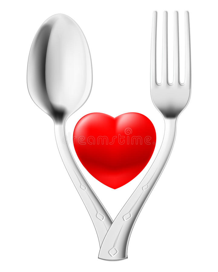 Spoon and fork. Couple red heart. Illustration on white vector illustration