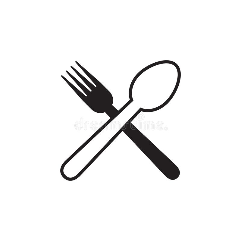 Spoon fork graphic design template vector isolated. Logo, cafe, utensil, food, icon, cafeteria, organic, cartoon, yummy, vintage, company, shop, badge, recipe royalty free illustration