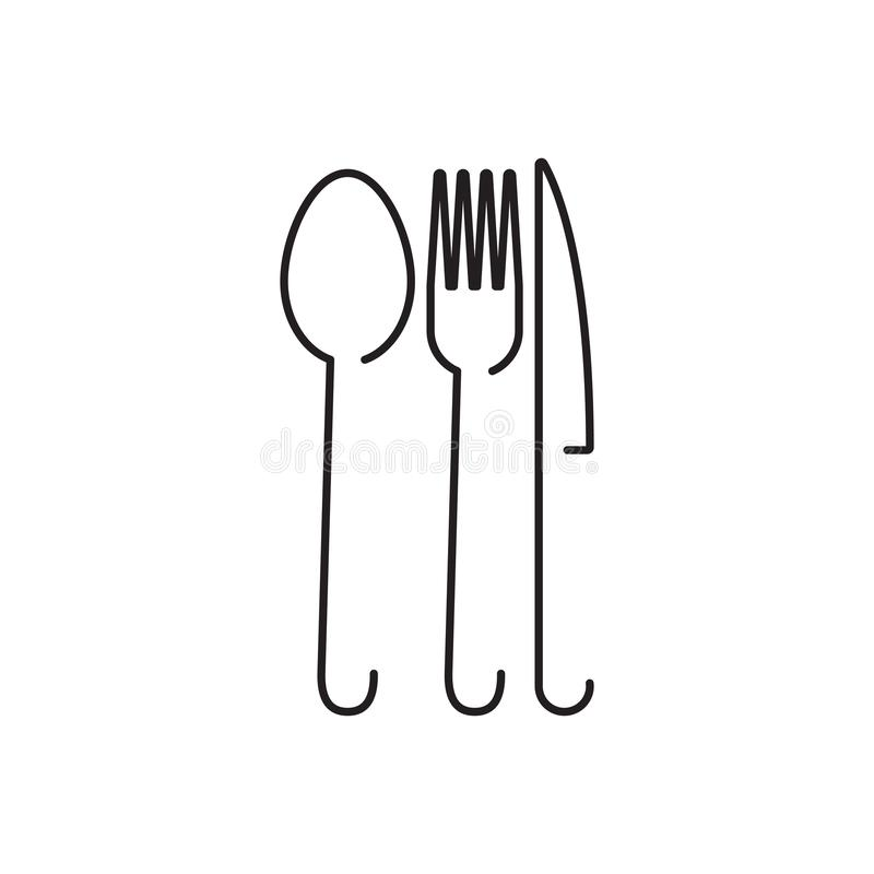 Spoon fork graphic design template vector isolated. Logo, cafe, utensil, food, icon, cafeteria, organic, cartoon, yummy, vintage, company, shop, badge, recipe stock illustration
