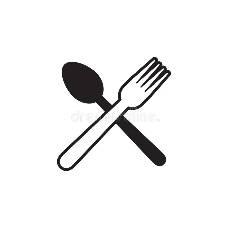 Spoon fork graphic design template vector isolated. Logo, cafe, utensil, food, icon, cafeteria, organic, cartoon, yummy, vintage, company, shop, badge, recipe vector illustration