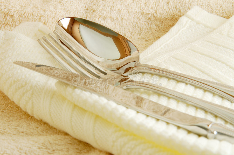 Spoon, fork and knife royalty free stock images