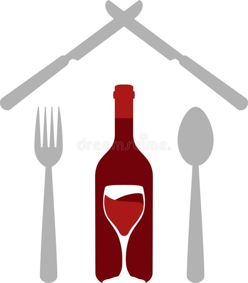 Spoon, fork, knife and Wine bottle and glass, sticker label, restaurant logo stock illustration