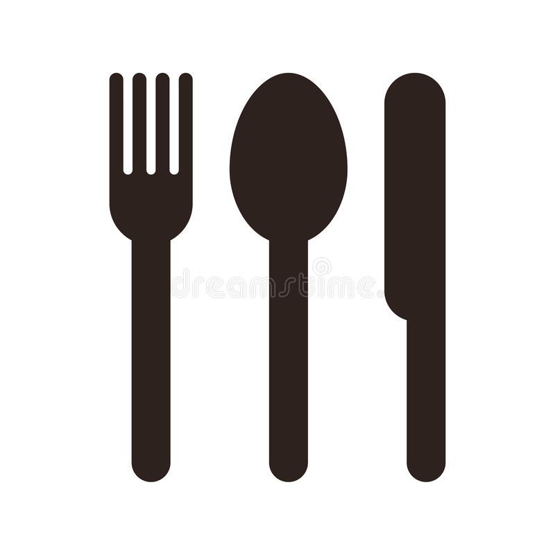 Spoon, fork and knife sign stock illustration