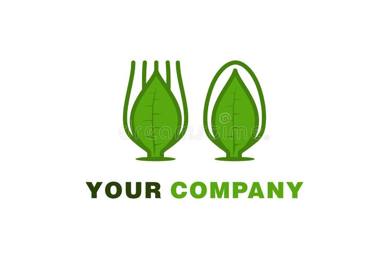 spoon and fork, leaf healthy food and drink logo. vector illustration