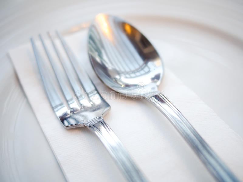 Spoon and fork stock photography