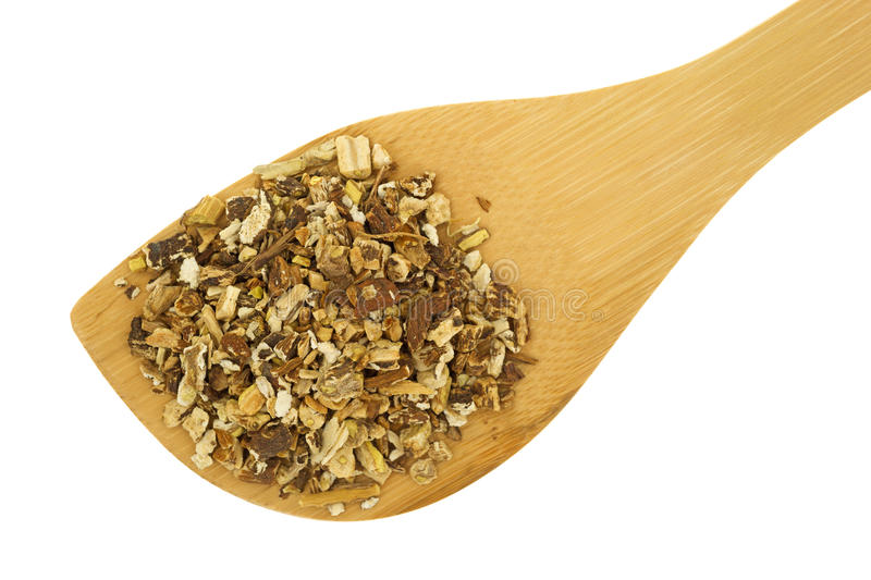 Spoon full of dried dandelion root. A small spoon filled with dried chopped dandelion root on a white background stock photography