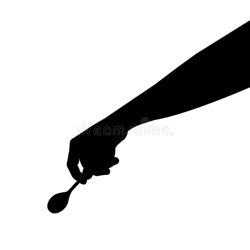 Spoon in hand silhouette vector illustration, tablespoon royalty free stock photos