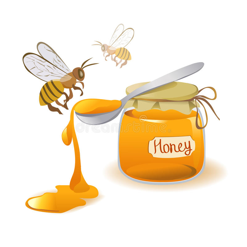 Spoon of honey and bees on a white background. Vector illustration royalty free illustration