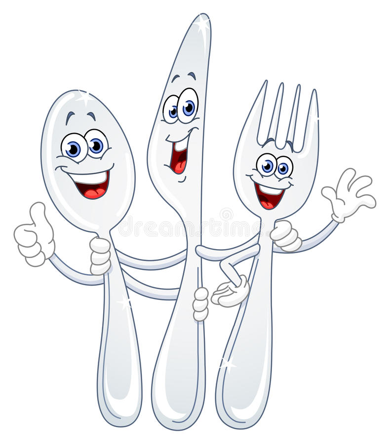 Free Spoon Knife And Fork Cartoon Royalty Free Stock Photography - 19653887