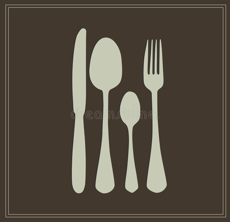 Spoon, knife and fork royalty free illustration