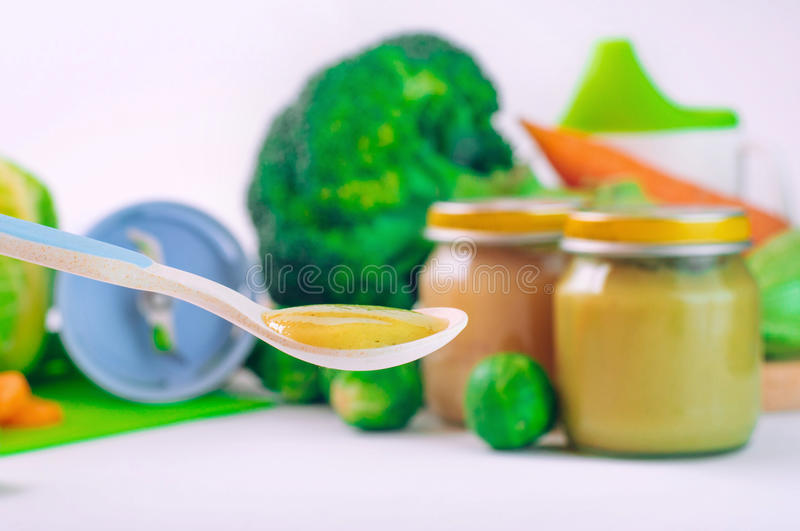 Download Spoon With Natural Baby Food Stock Photo - Image: 83713171