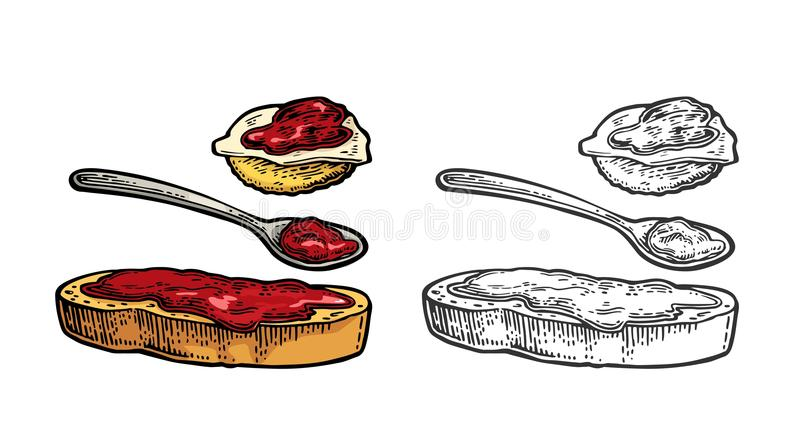 Spoon and slice of bread with jam. Vector vintage engraving. Spoon and slice of bread with jam. Isolated on white background. Vector color and monohrome vintage vector illustration