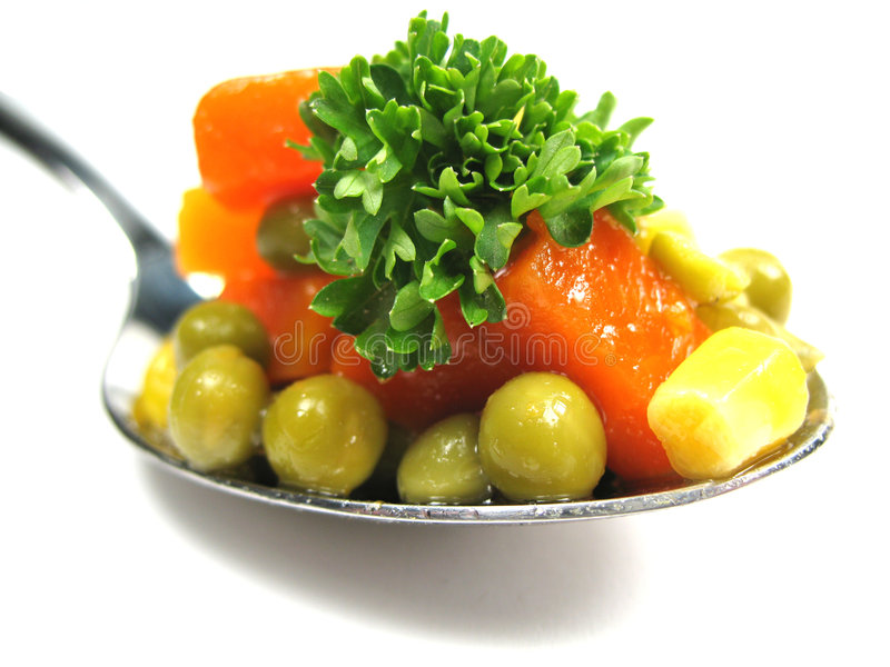 Spoon with vegetables