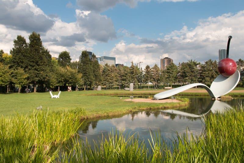 Spoonbridge and Cherry Fountain, Sculpture Garden, Minneapolis, royalty free stock image