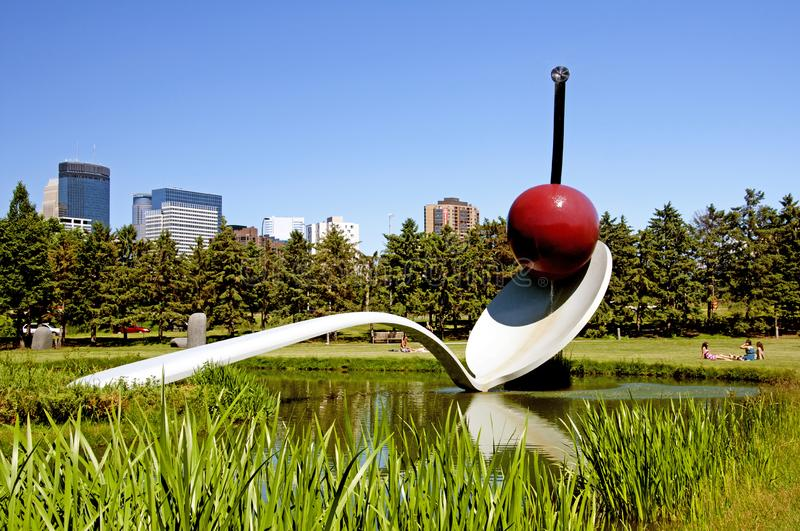 Spoonbridge and Cherry Sculpture located in Minneapolis, Minnesota royalty free stock photography
