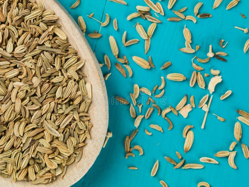 Spoonful of Dried Fennel Seed Cooking Spice. Against a Blue Background stock photography
