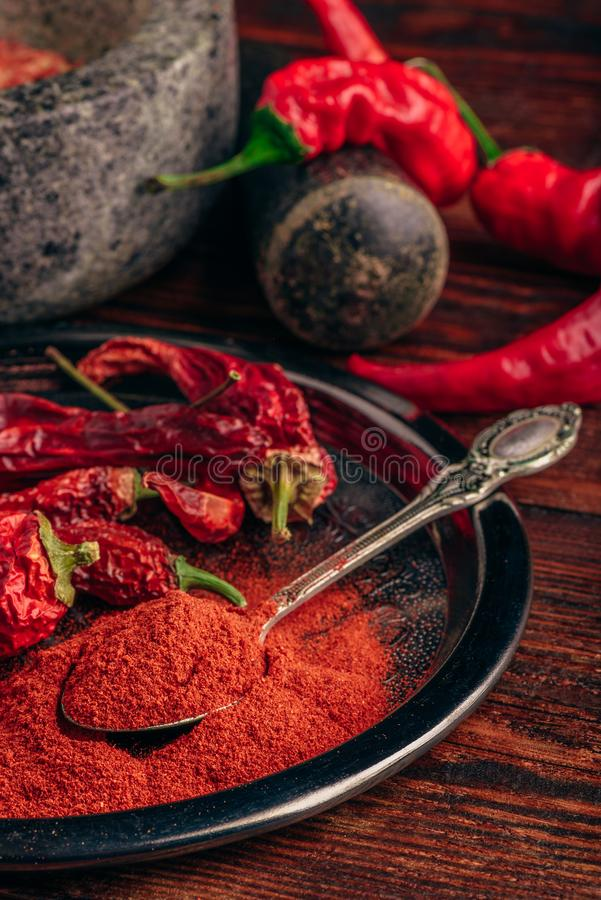Spoonful of ground chili pepper. With dried fruits on metal plate royalty free stock images