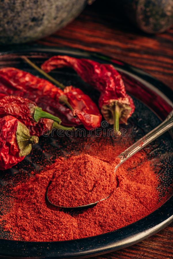 Spoonful of ground chili pepper. With dried fruits on metal plate royalty free stock image