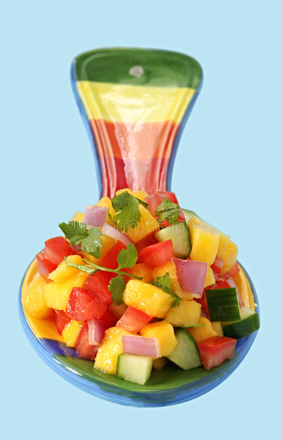 Spoonful of Mango Salsa stock images