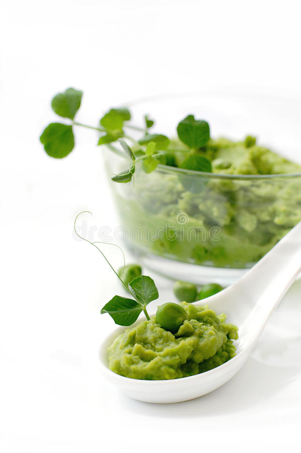 A spoonful of pea puree royalty free stock photography