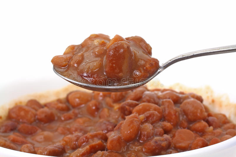 Spoonful of Pinto Beans. A heaping spoonful of canned pinto beans stock images