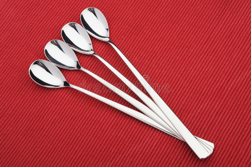 Spoons. Dessert Spoons on the table royalty free stock photography