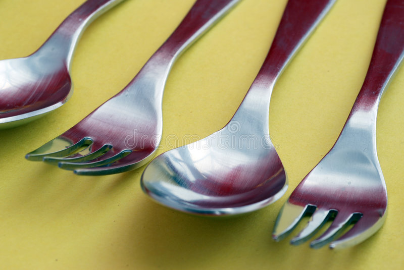 Spoons and Forks stock photo