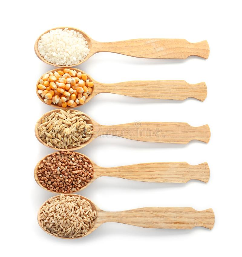 Free Spoons With Different Types Of Grains And Cereals Stock Photo - 121744680