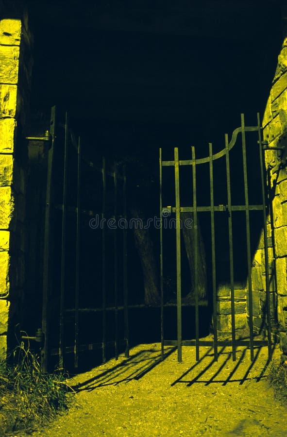 spooooky墓地的门 免版税库存图片